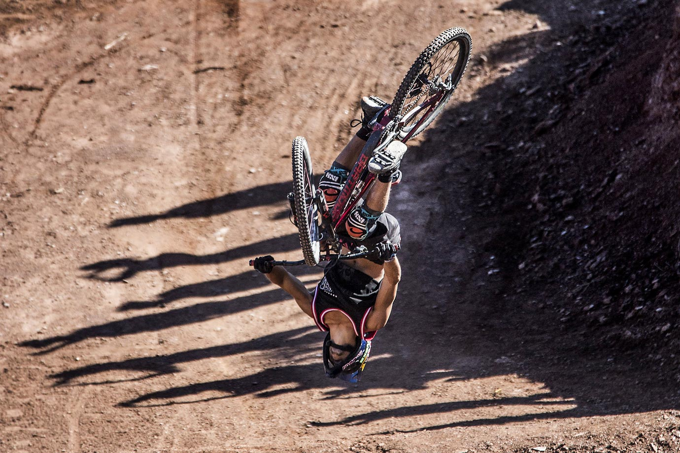 Szymon Godziek of Poland backflips the Canyon Gap in Virgin, Utah.