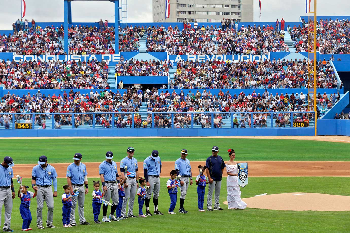 The stadium was packed for the exhibition game, which the Rays won 4-1.