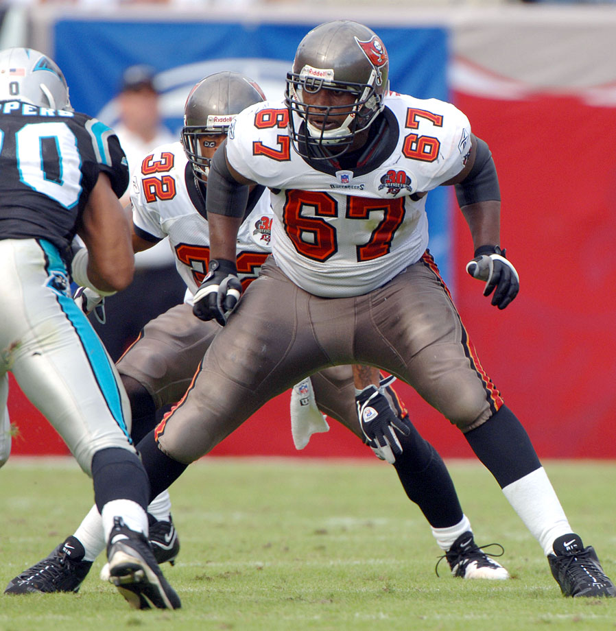 It's not that the Bucs should have been faulted for taking Walker with the No. 14 pick in the 2001 draft out of Florida. The Bucs plugged Walker in on the left side in his first season, though he played right tackle in college. We don't have charting stats for Walker's 75 games played and 73 games started from 2001 through '06, but we do know that Julius Peppers bedeviled Walker like few others in the NFL. In one 2005 game against the Panthers, Walker was so flipped out about trying to block Carolina's ginormous defensive end, he committed three false starts in a five-play span and allowed two sacks. This was par for the course. The Bucs released Walker in March, 2007. The Panthers gave him a shot after that (perhaps to make Peppers feel even better about himself in practice), but he didn't make final cuts.