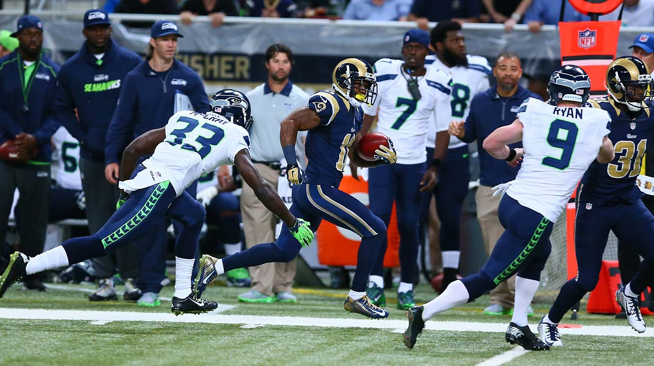 Tavon Austin heads toward the end zone on his 75-yard punt return against Seattle
