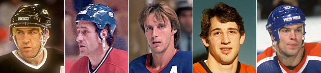 Dave Taylor, Bob Gainey, Mike Bossy, Rich Sutter, Mark Messier
