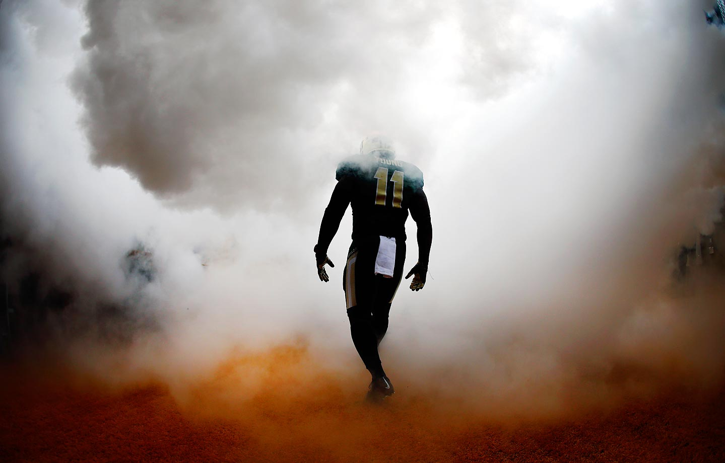 Baylor's Taylor Young walks to the field before a game against TCU.
