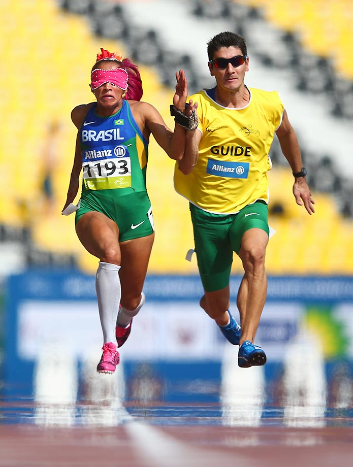 Terezinha Guilhermina competes in the 100m T11 heats of the IPC Athletics World Championships in Doha, Qatar.