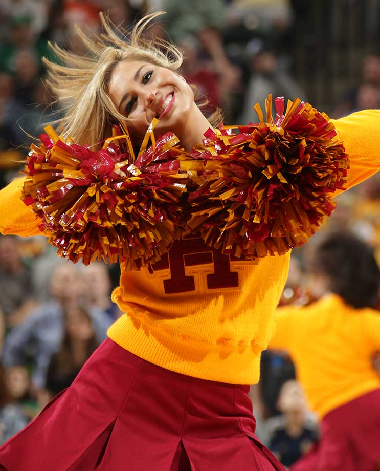 Dancers perform during the game between the Boston Celtics and Indiana Pacers.