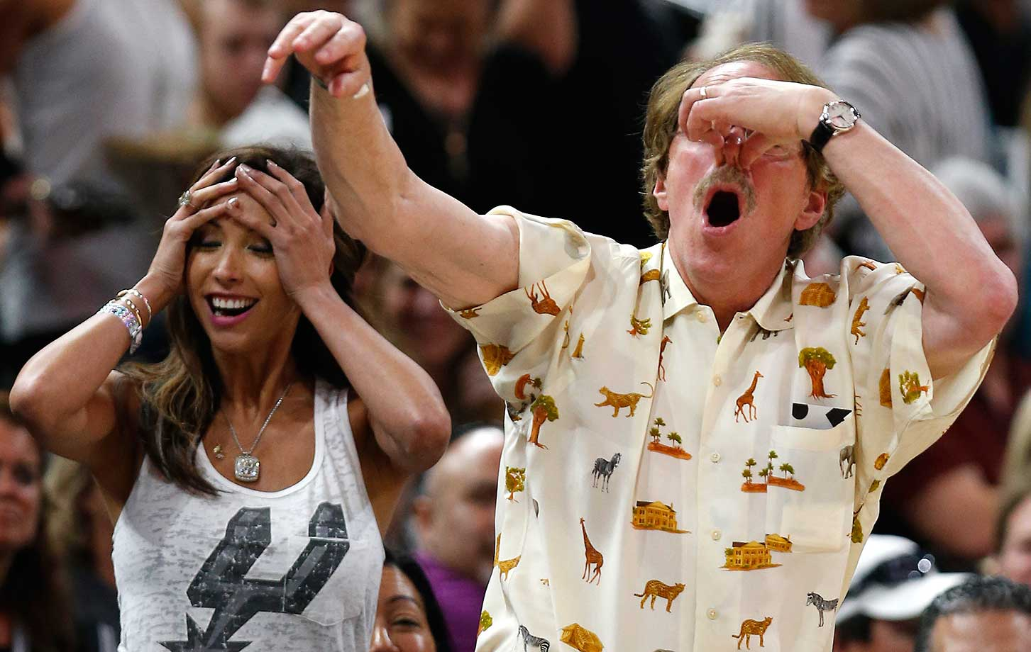 San Antonio Spurs fans react to a call that went with the Los Angeles Clippers.