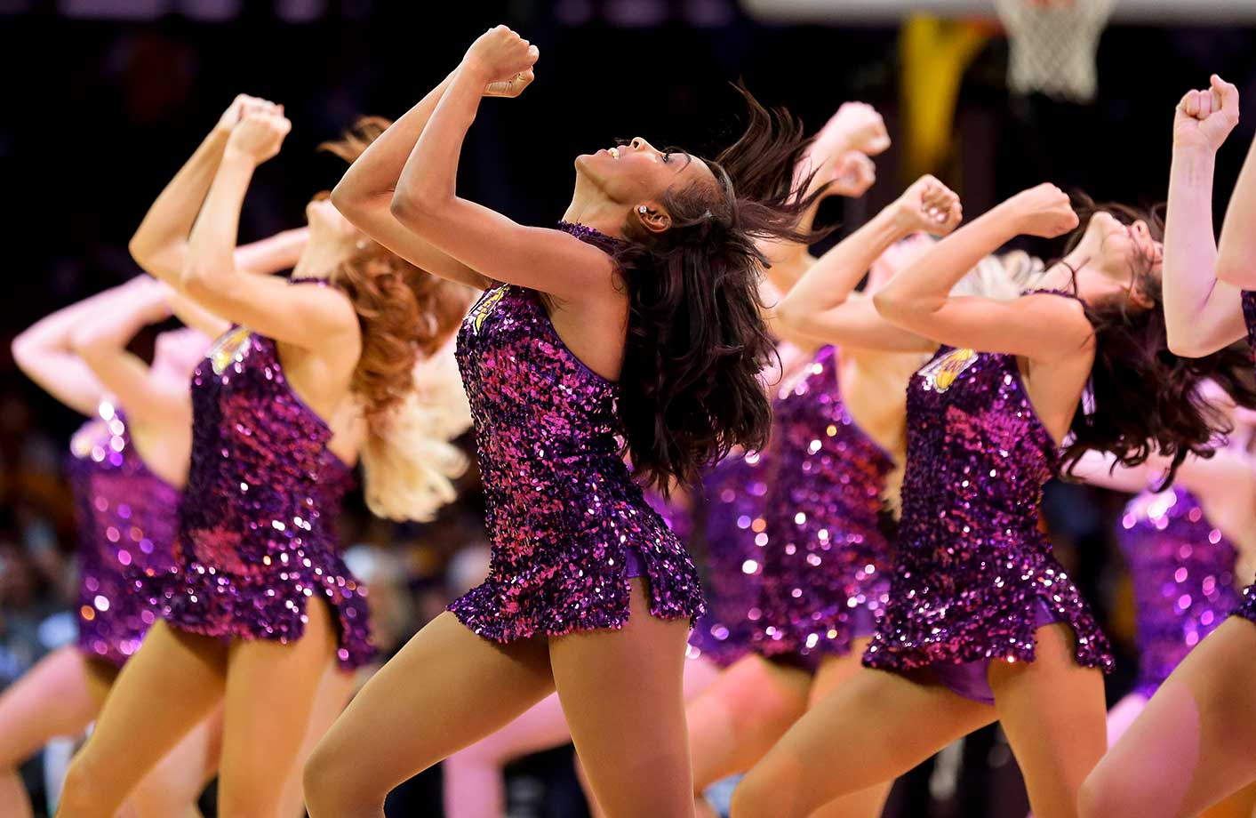 The Los Angeles Lakers cheerleaders perform during a game against Sacramento.