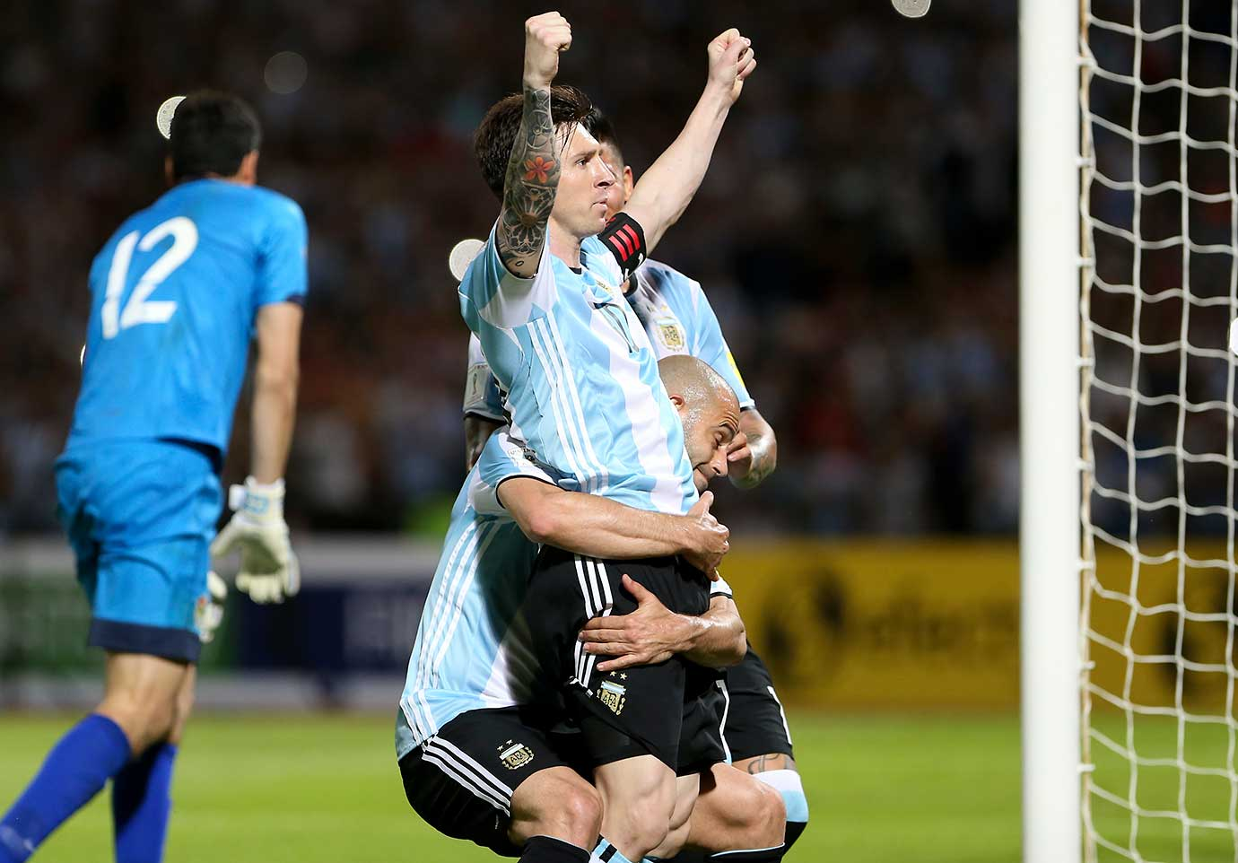 Lionel Messi of Argentina celebrates the second goal of his team during a World qualifier against Bolivia.