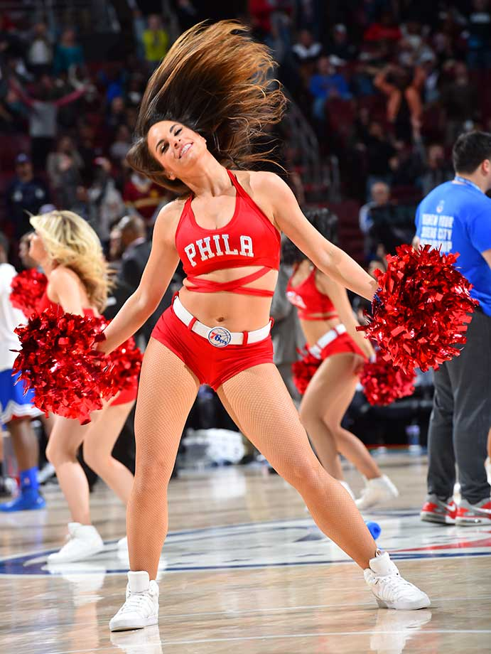 The Philadelphia 76ers dance team during the game against the Charlotte Hornets.