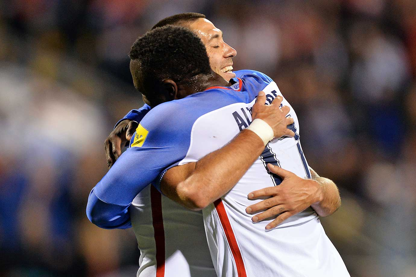 Jozy Altidore and Clint Dempsey celebrate after Dempsey assisted on Altidore's goal against Guatemala.