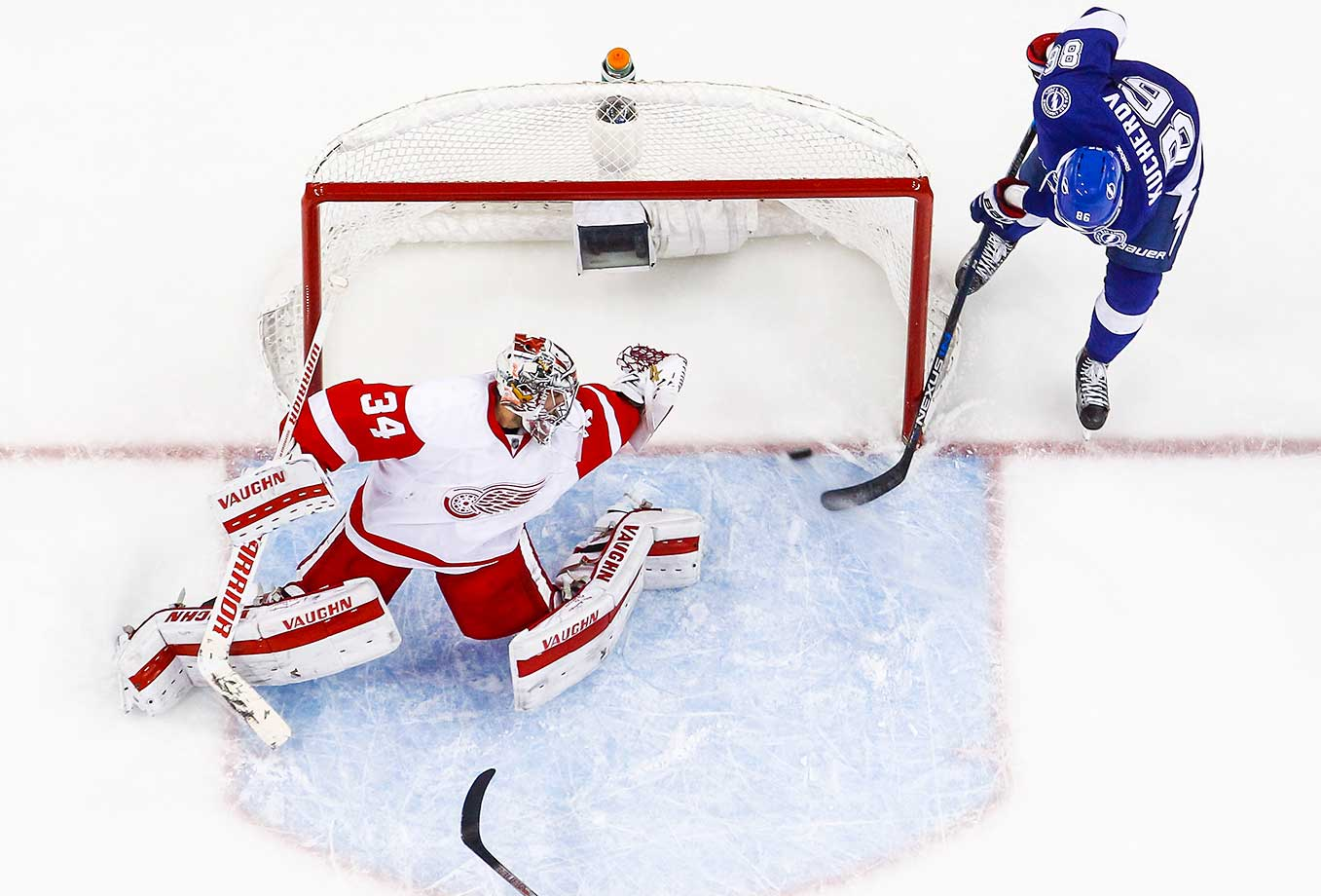 Goalie Petr Mrazek stretches but can't make the save as Nikita Kucherov of the Tampa Bay Lightning scores.