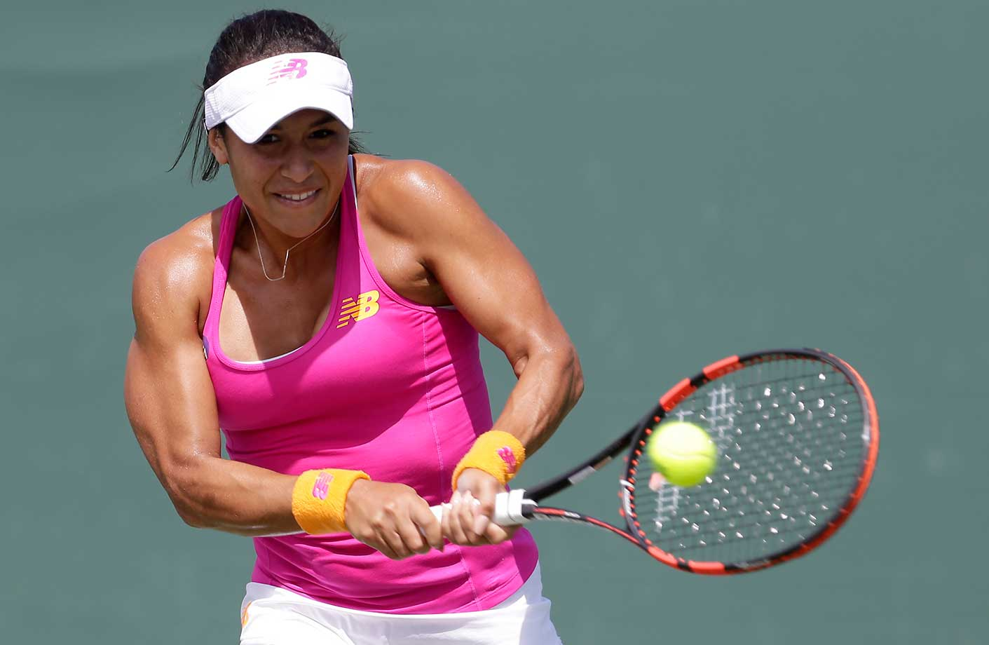 Heather Watson of Great Britain returns to Petra Cetkovska of the Czech Republic at the Miami Open.