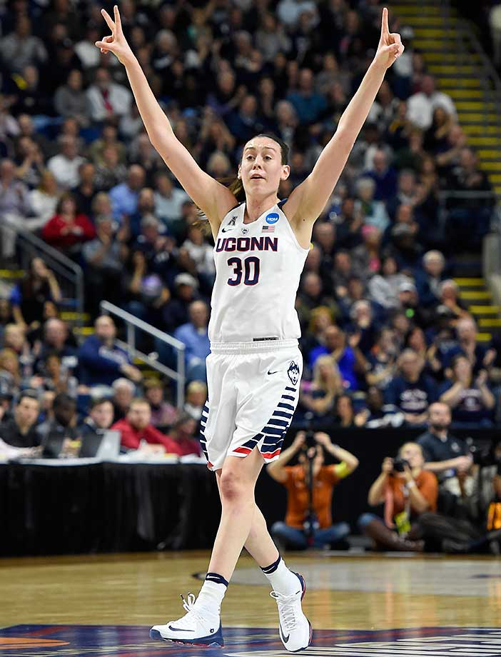 Here are some of the images that caught our eye on a night when the UConn women advanced to their ninth consecutive Final Four. Breanna Stewart (pictured) and the team's other seniors are two wins away from winning a fourth straight national title.