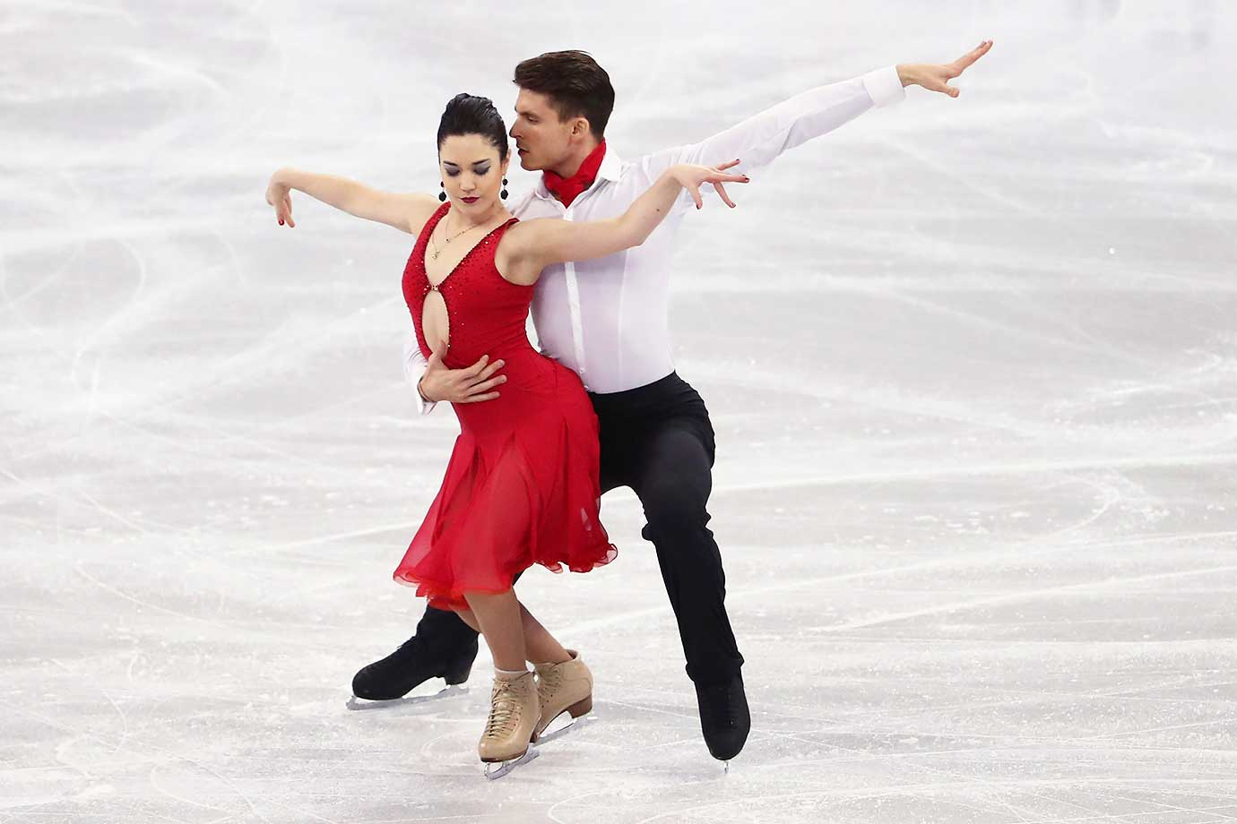 Celia Robledo and Luis Fenero of Spain in the Ice Dance Short program at the World Figure Skating Championships.