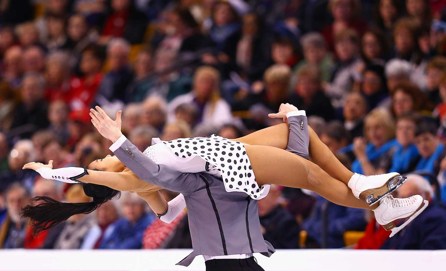 Rebeka Kim and Kirill Minov of Korea at the World Figure Skating Championships.