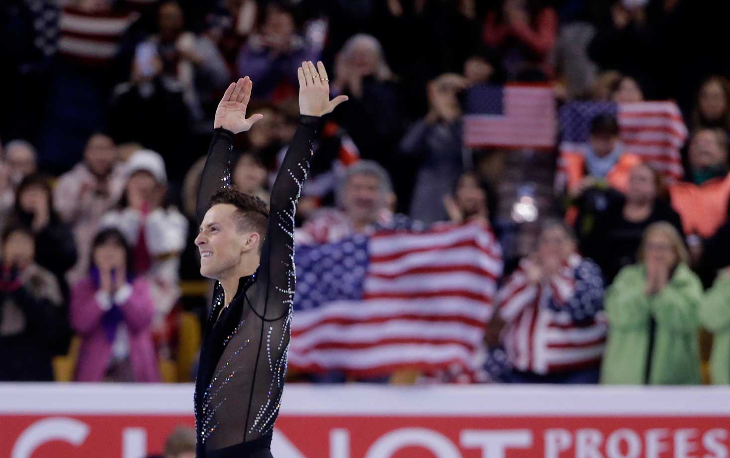 Adam Rippon of the United States after his routine during the short program in the World Figure Skating Championships.