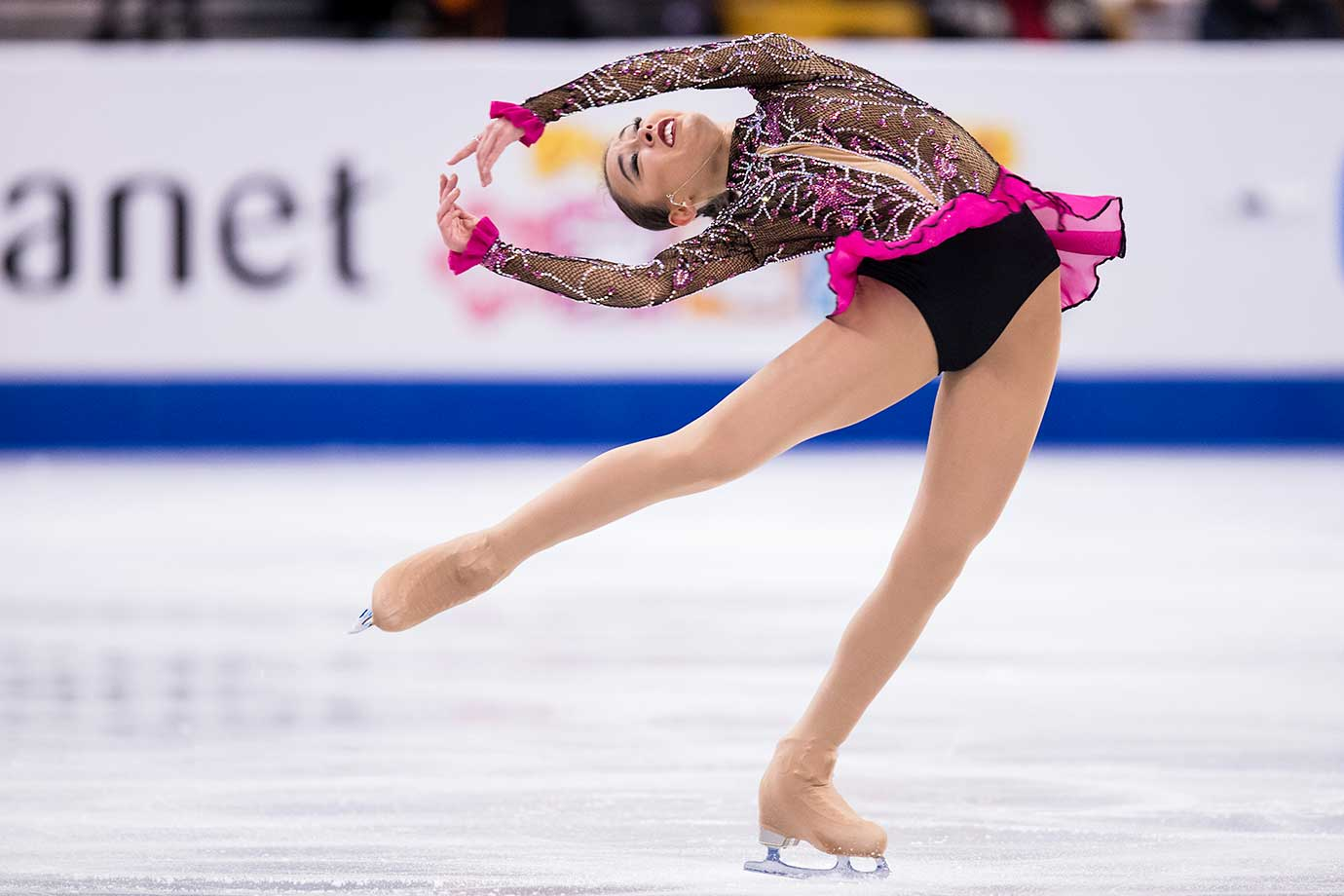Kailani Craine of Australia performs her short program at the World Figure Skating Championships.
