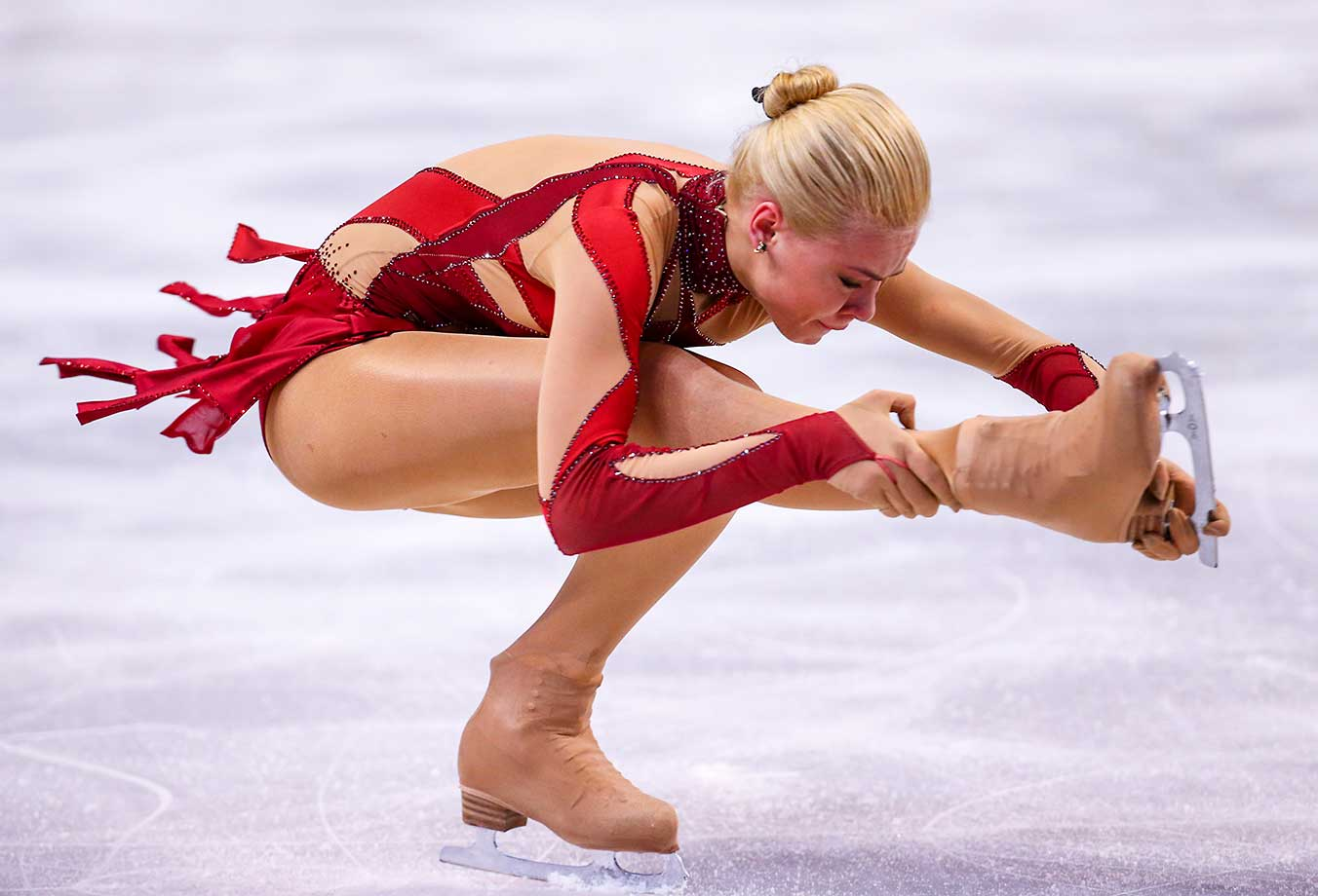 Anna Pogorilaya of Russia competes during Day 4 of the World Figure Skating Championships.
