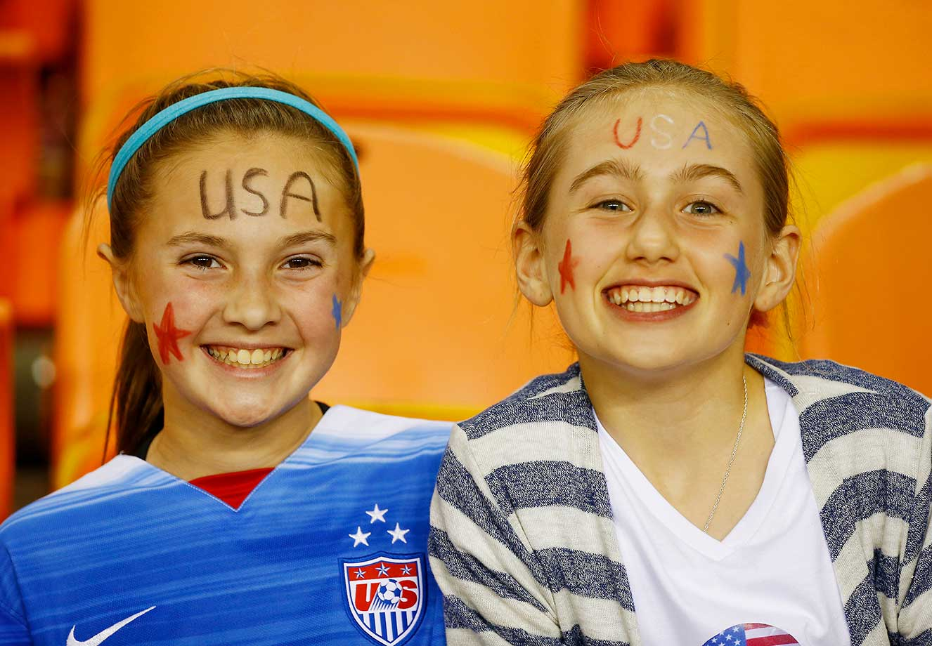 Fans of the United States women's soccer team at the game against Trinidad and Tobago in Houston.