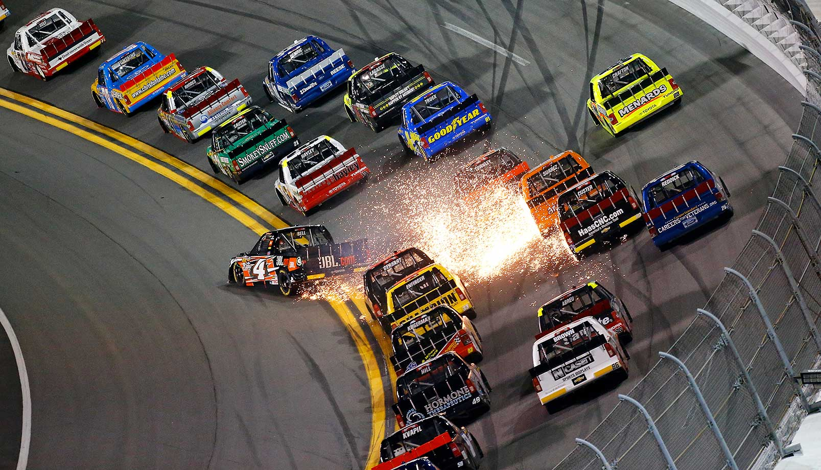 Christopher Bell has an on track incident during the NASCAR Camping World Truck Series race at Daytona International Speedway.
