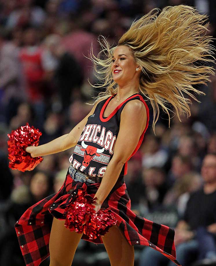 A member of the Chicago Bulls dance team performs during a break between the Bulls and the Toronto Raptors.