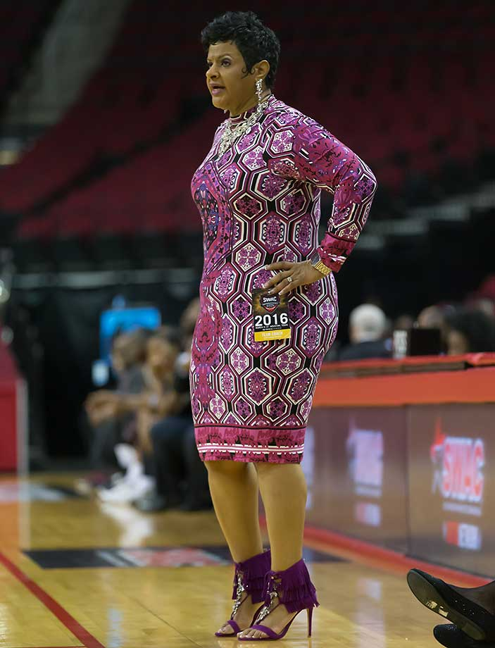 Jackson State Tigerettes head coach Surina Dixon watches her team during a SWAC tournament game against Texas Southern.