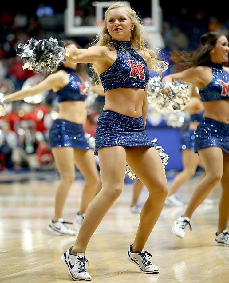 The Ole Miss Rebels cheerleaders perform in the game against Alabama.