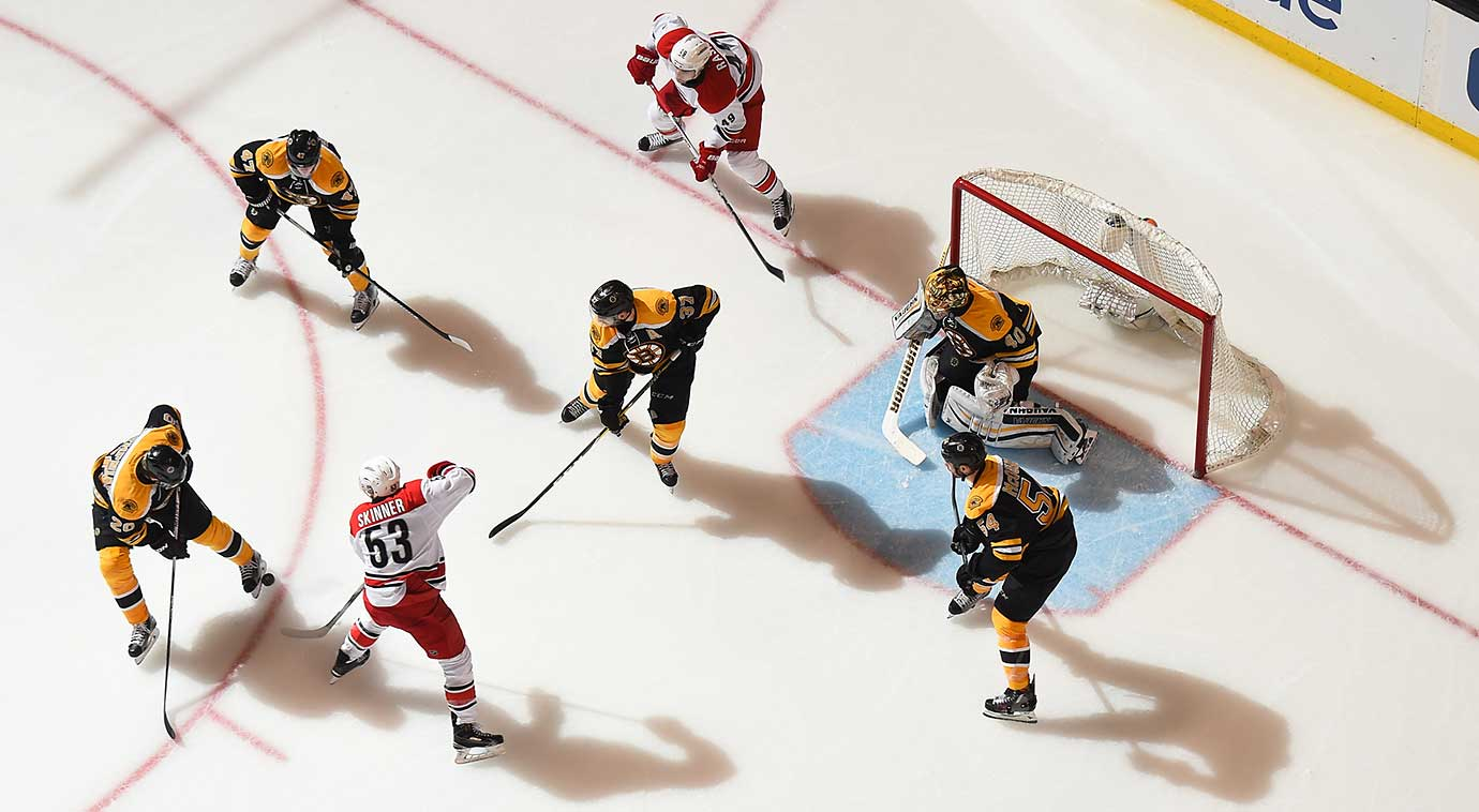 The Boston Bruins against the Carolina Hurricanes at the TD Garden in Massachusetts.