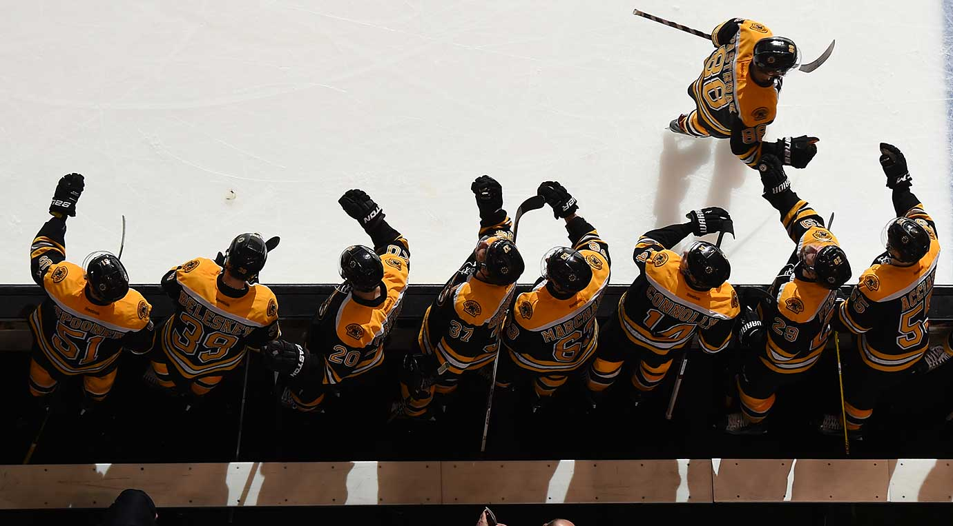 David Pastrnak of the Boston Bruins celebrates a goal against the Carolina Hurricanes.