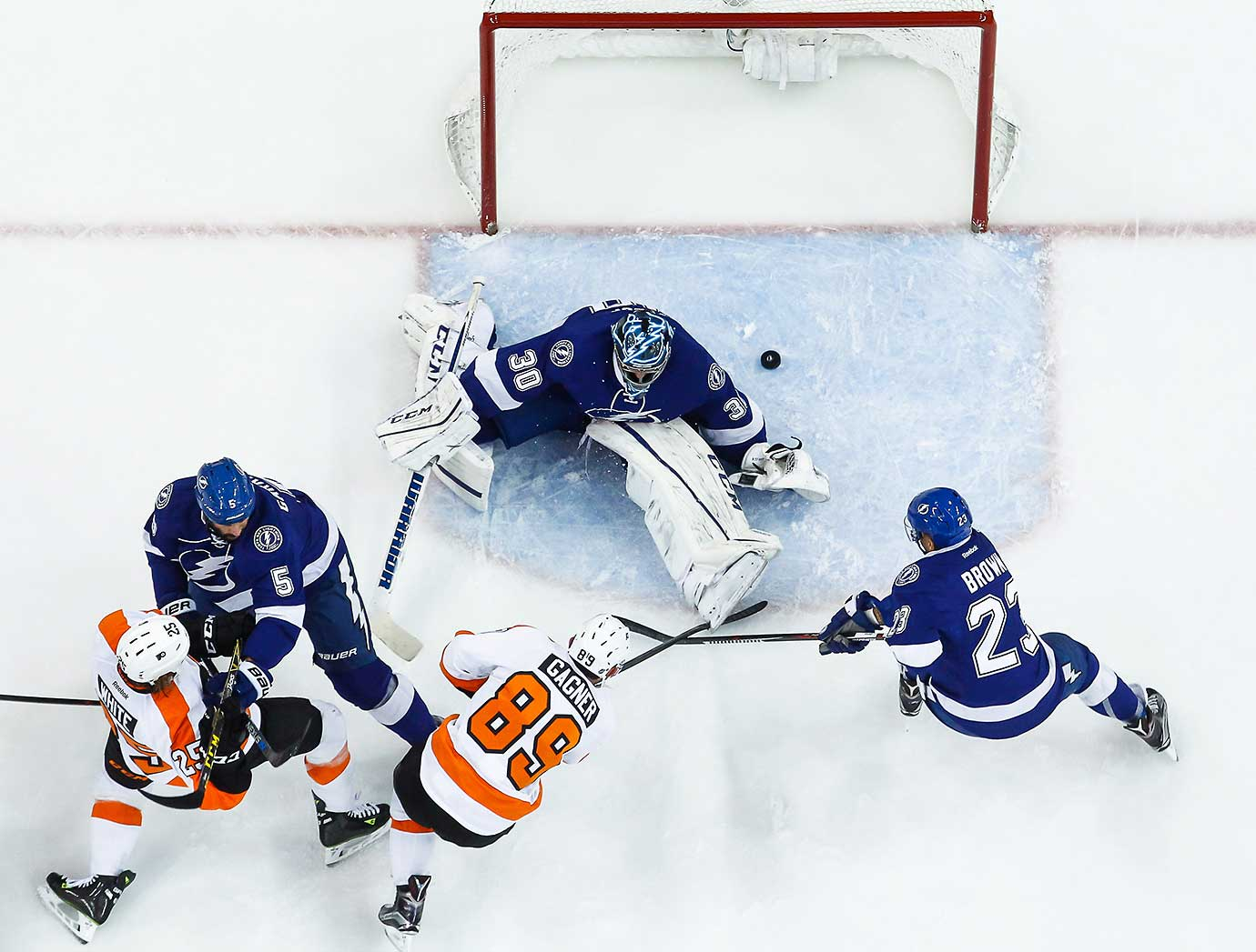 Sam Gagner of the Philadelphia Flyers scores against goalie Ben Bishop of the Tampa Bay Lightning.