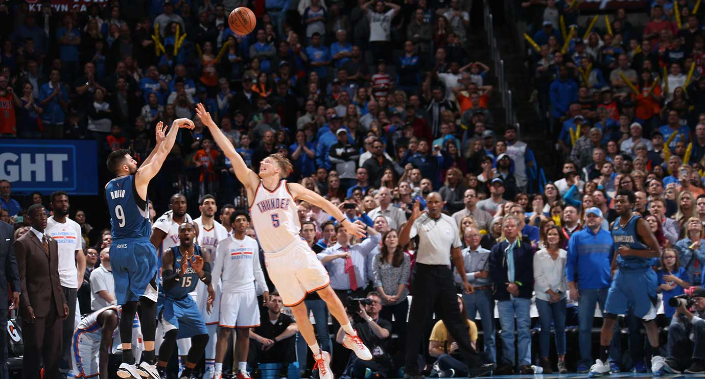 Ricky Rubio of the Minnesota Timberwolves shoots the game-winning three-pointer against the Oklahoma City Thunder.
