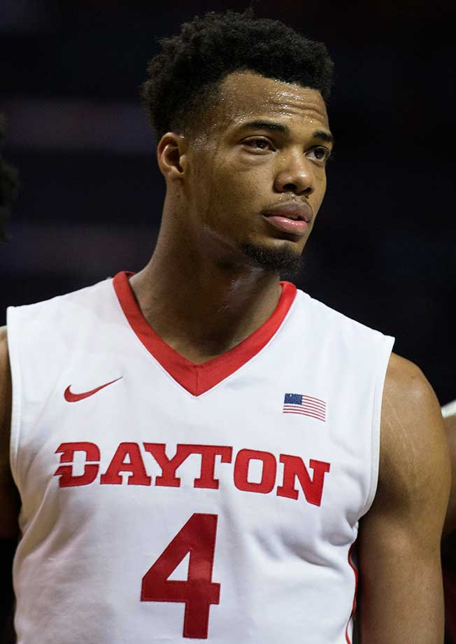 A battle-tested Charles Cooke of Dayton looks on during the game against the Saint Joseph's Hawks.