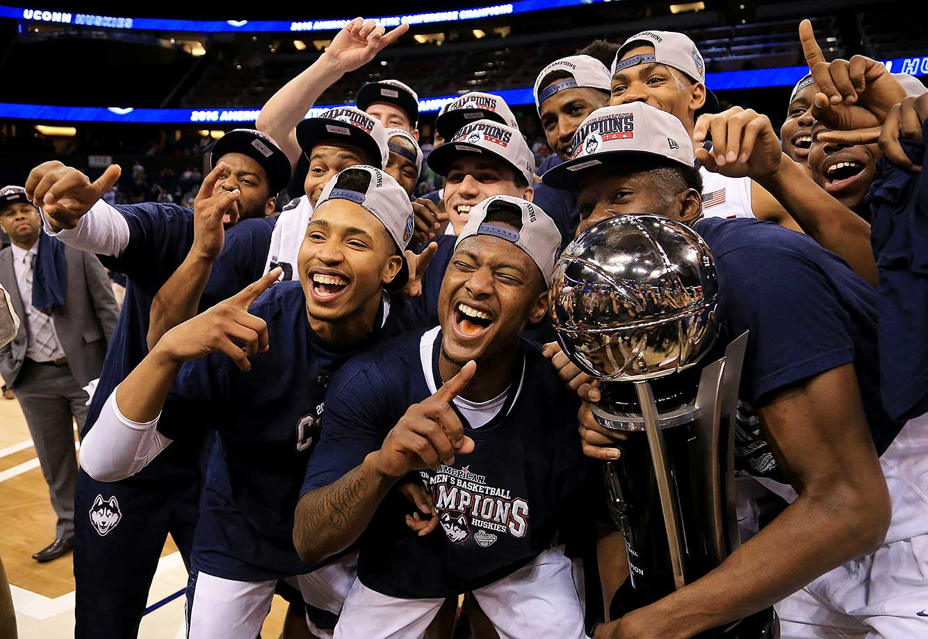 Here are some of the images that caught our eye on Selection Sunday, starting with a UConn team that rode the strength of a quadruple overtime win over Cincinnati all the way to the AAC title.