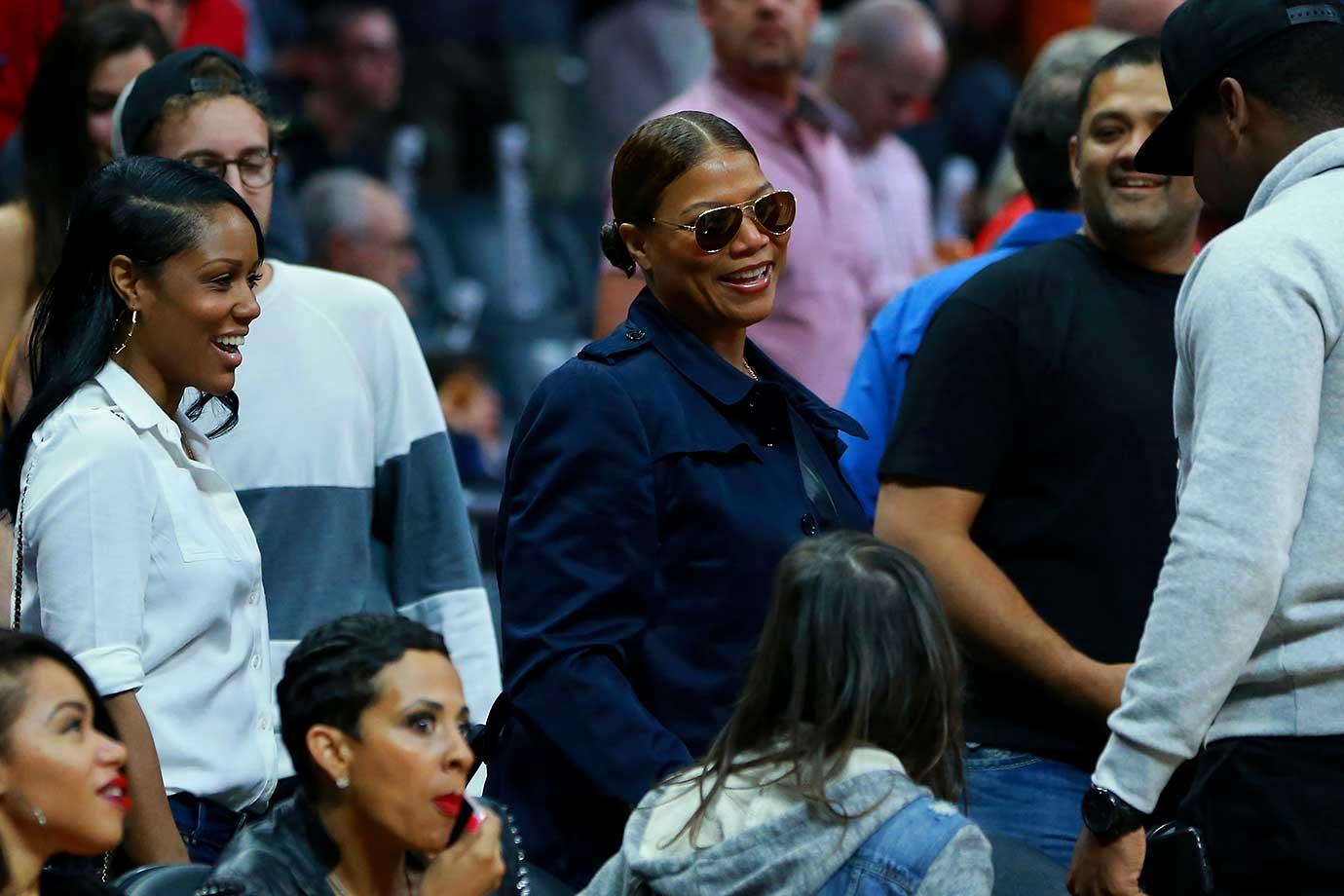 Actress/rapper Queen Latifah attends the game between the Cleveland Cavaliers and Los Angeles Clippers.