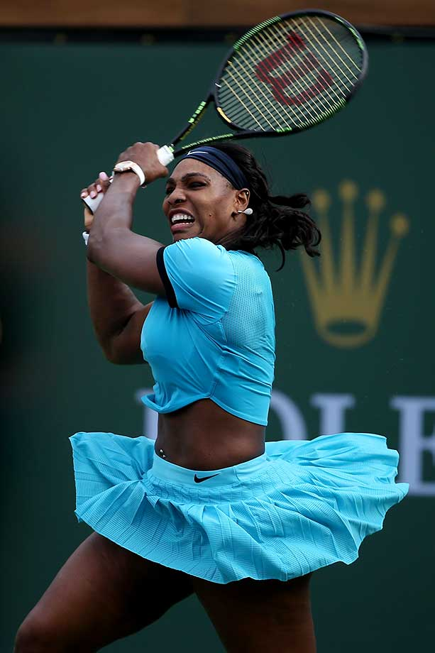 Serena Williams returns a shot against Yulia Putinseva of  Kazakhstan during the BNP Paribas Open at Indian Wells.
