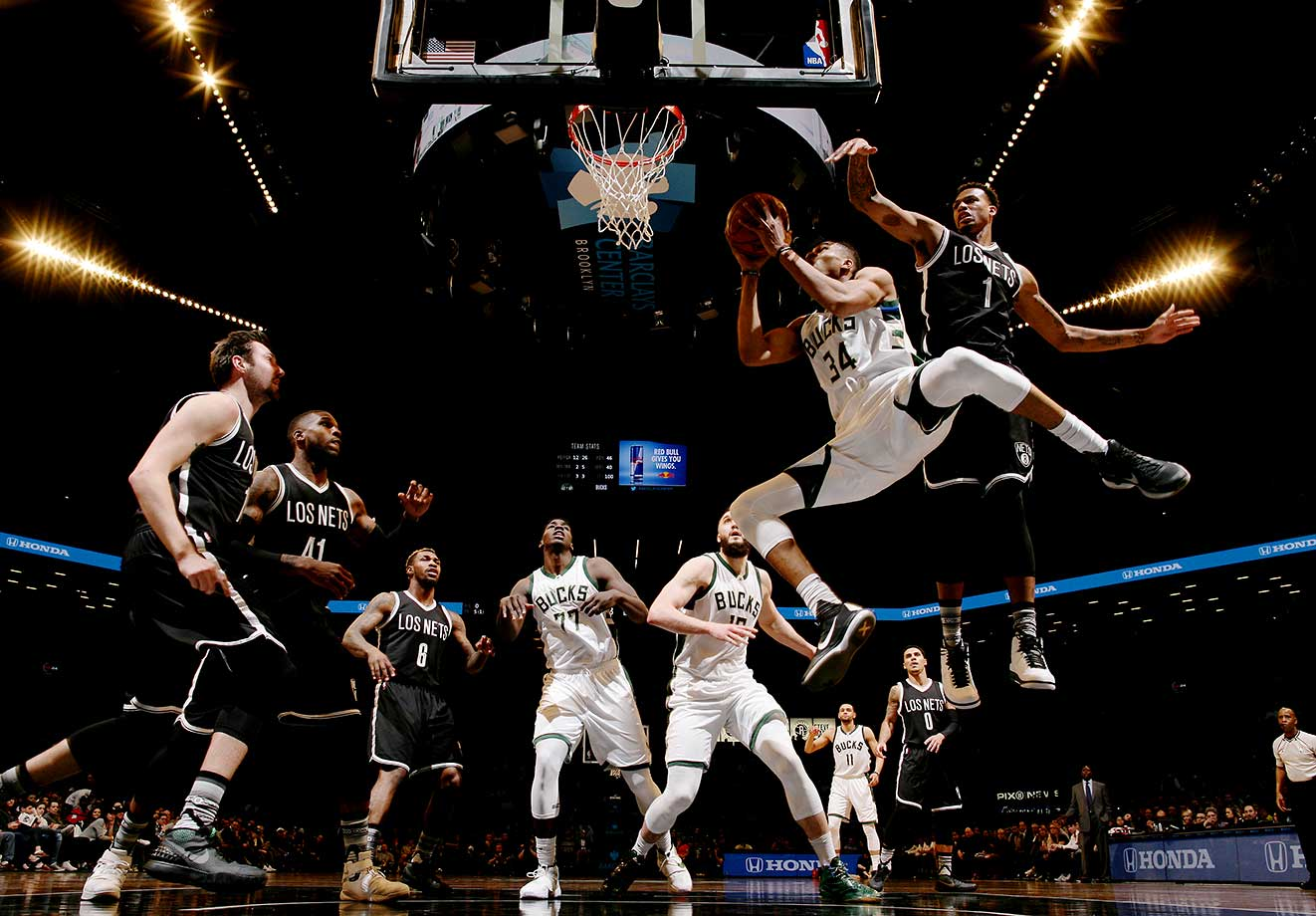 Giannis Antetokounmpo of the Milwaukee Bucks goes to the basket against the Brooklyn Nets.