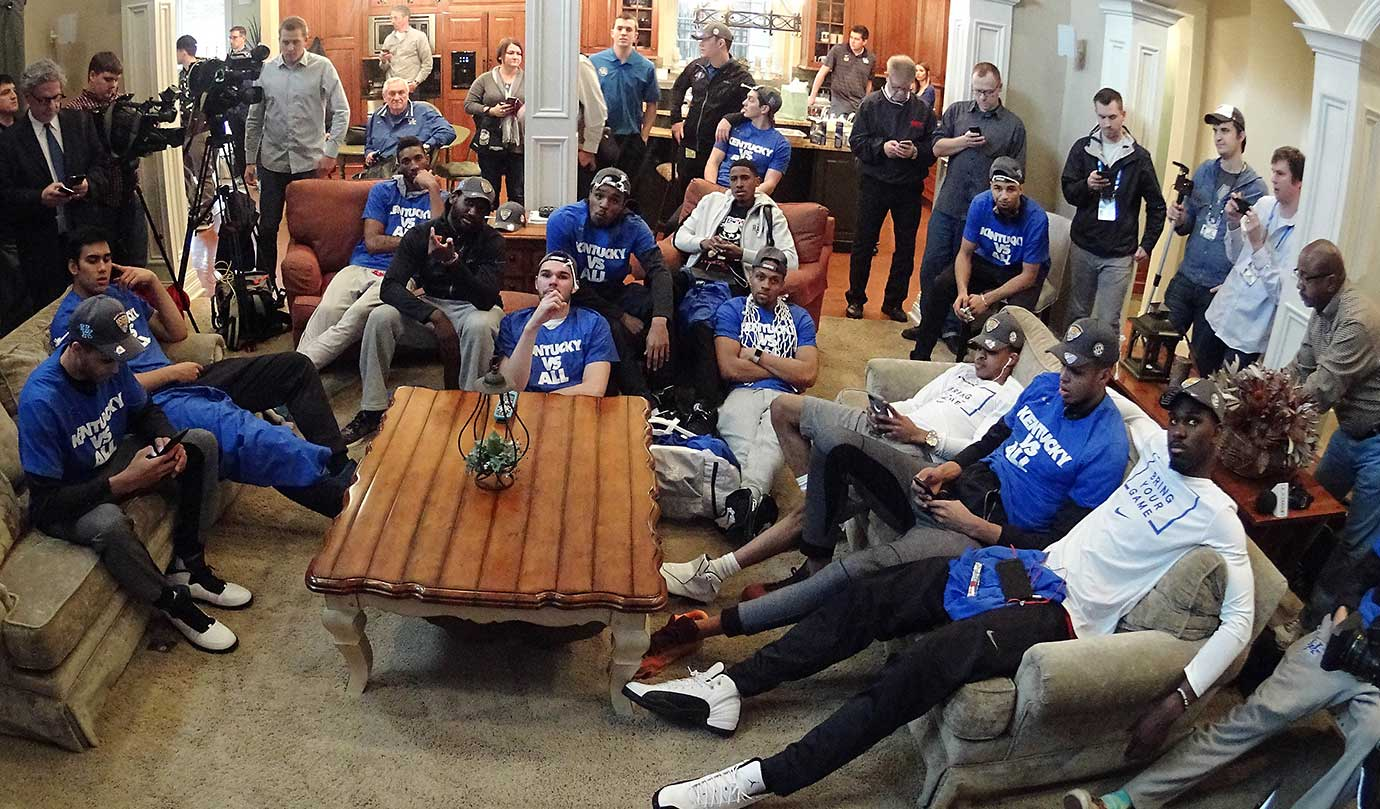 The Kentucky Wildcats watch the NCAA tournament selection show at the home of head coach John Calipari.