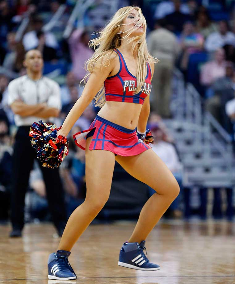 A New Orleans Pelicans cheerleader during a break in the action.