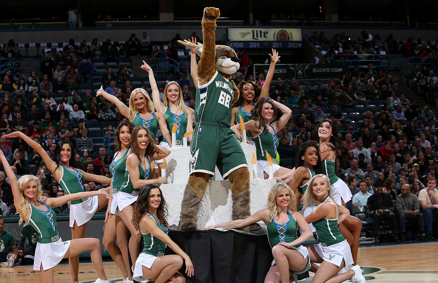 Dancers perform during the game between the Miami Heat and Milwaukee Bucks at the BMO Harris Bradley Center in Wisconsin.