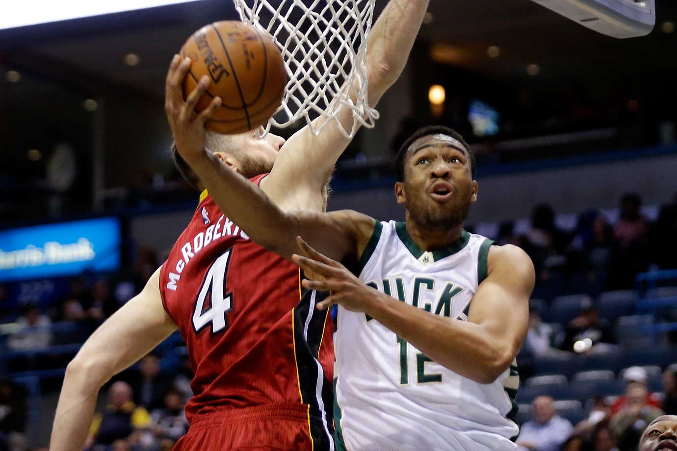 Jabari Parker of the Milwaukee Bucks drives to the hoop against the Miami Heat at BMO Harris Bradley Center in Wisconsin.