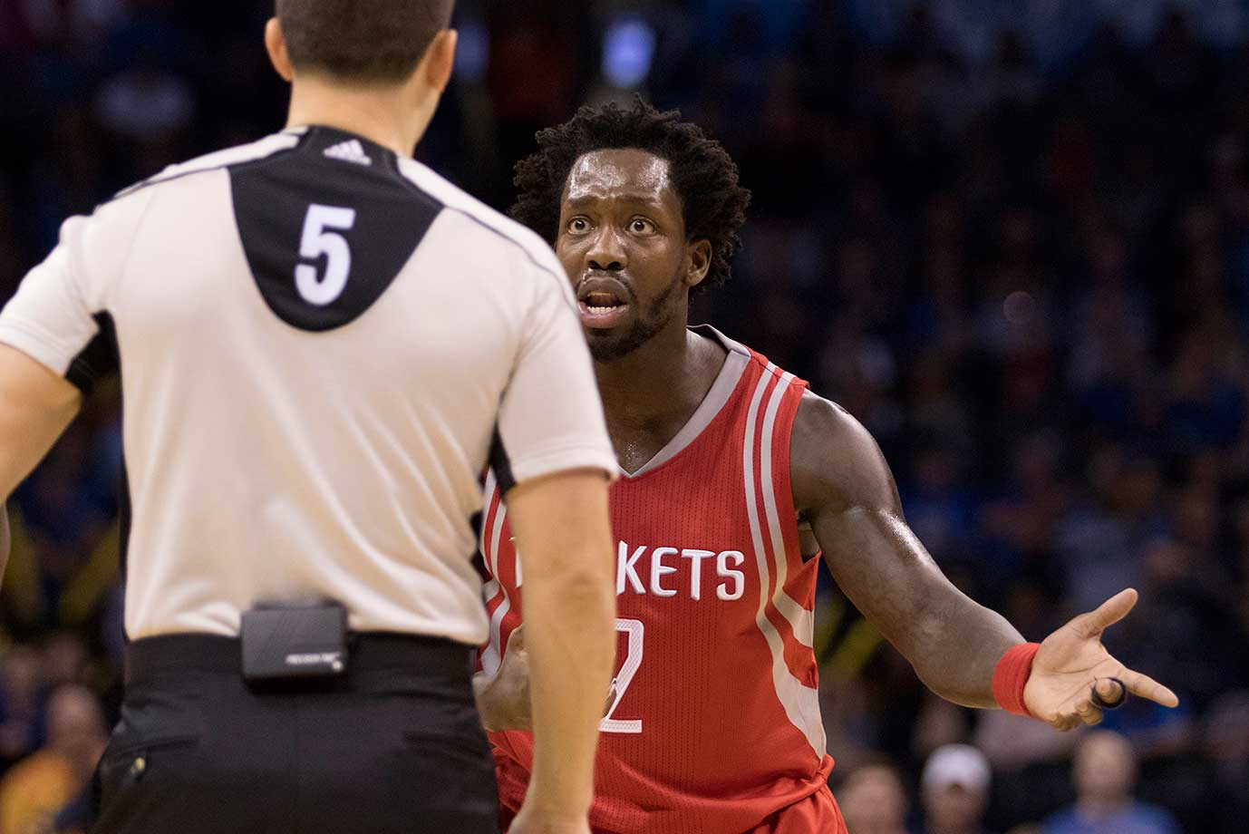 Patrick Beverley of the Houston Rockets argues he did not commit a foul to referee Kane Fitzgerald during a game at the Chesapeake Energy Arena in Oklahoma City.