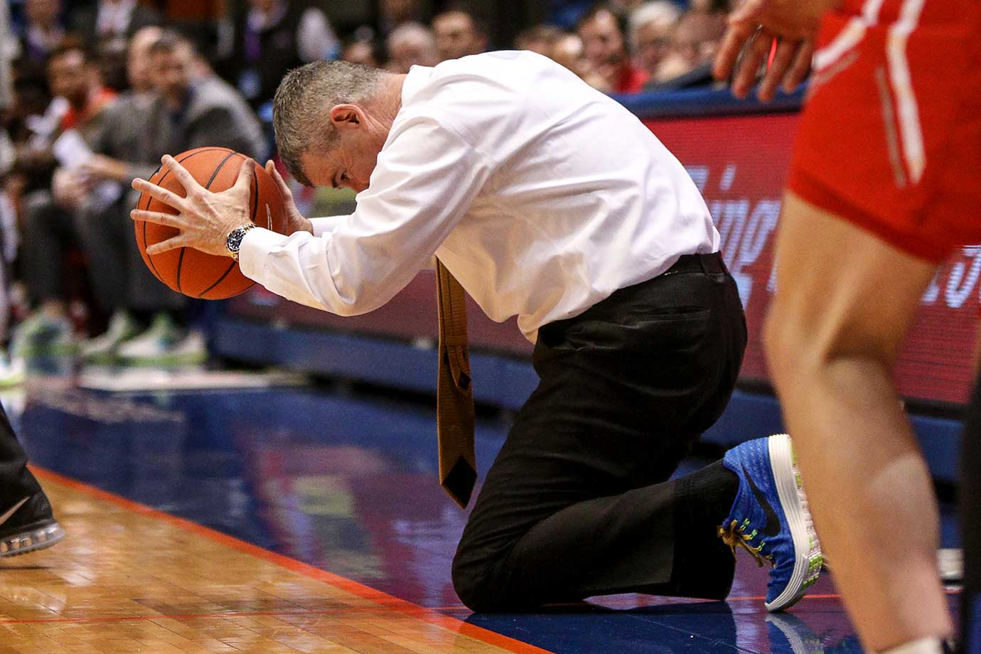 Head coach Leon Rice of the Boise State Broncos cannot believe a call during action between the New Mexico Lobos and the Boise State Broncos. New Mexico won 88-83.