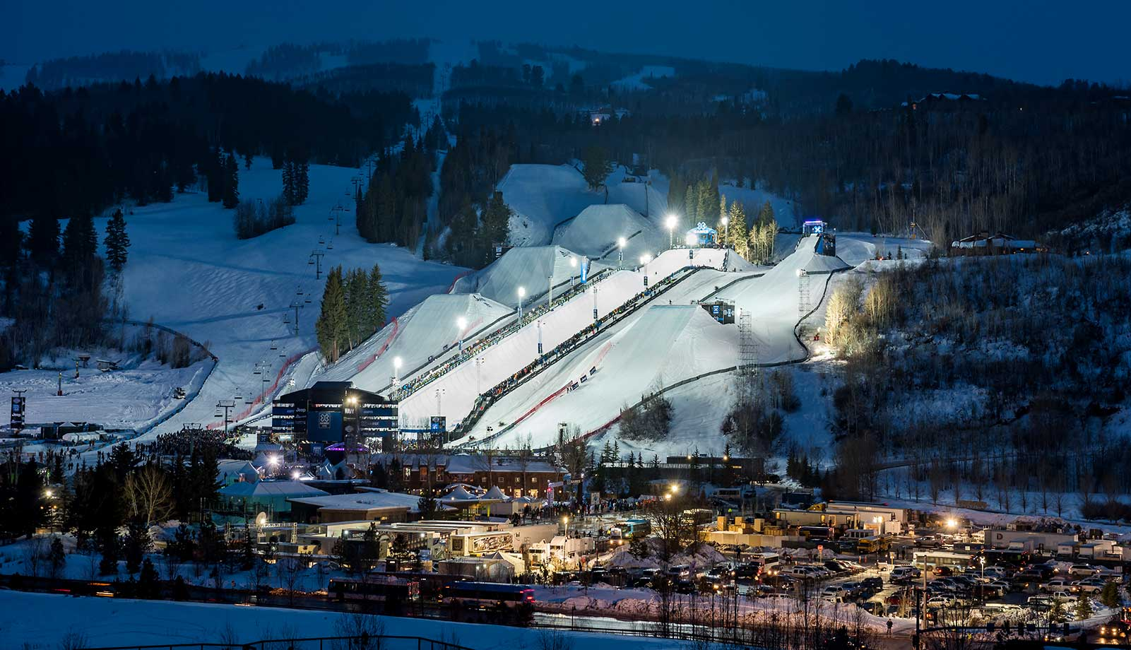 The venue at the Winter X Games 2016 Aspen at Buttermilk Mountain is lit up on the evening of Jan. 30 in Colorado.