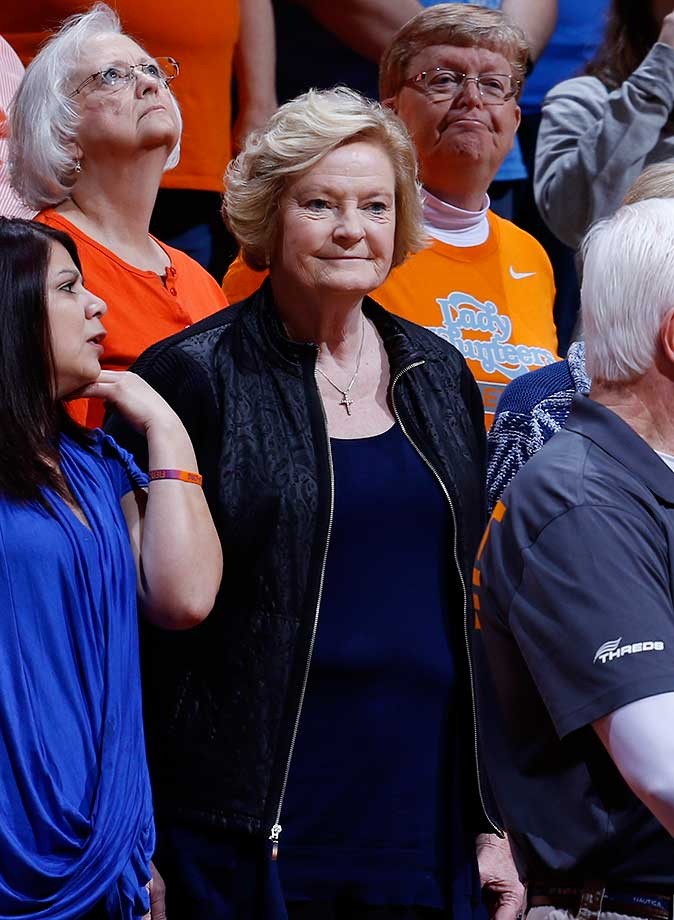 Pat Summitt, head coach Emeritus of the Tennessee Lady Volunteers,  watches her team play against the Alabama Crimson Tide in a game at Thompson-Boling Arena in Knoxville, Tenn.