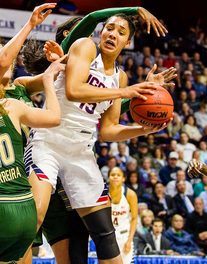 UConn's Gabby Williams holds on to an offensive rebound during the American Athletic Conference Championship game against the USF Bulls.