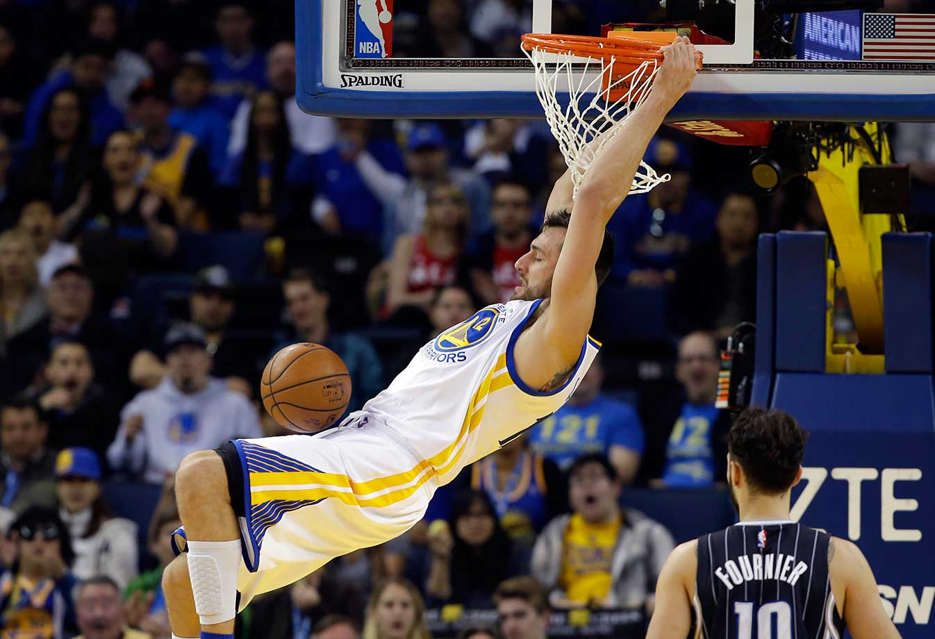 Andrew Bogut of Golden State dunks against the Orlando Magic.