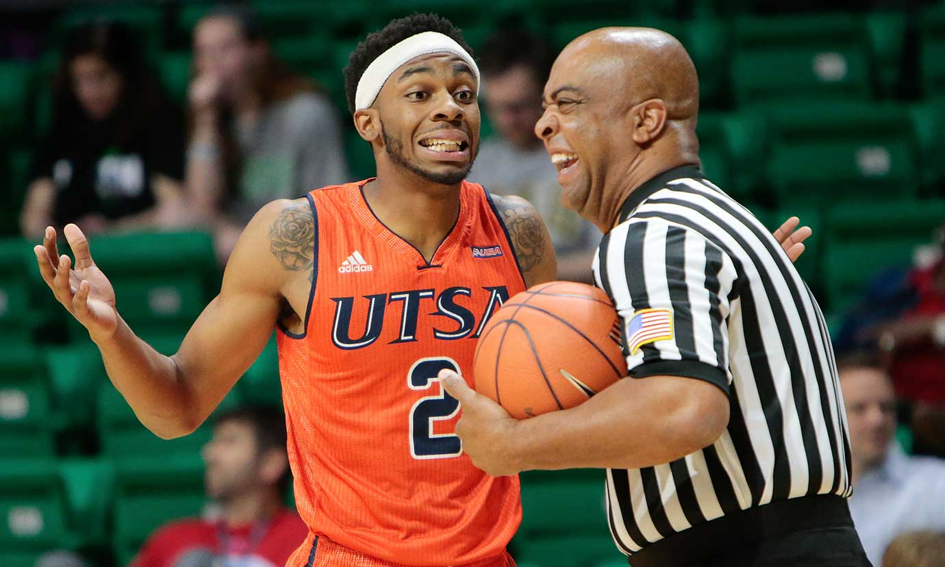 Texas-San Antonio guard J.R. Harris jokes with an official during a game against the FAU Owls.