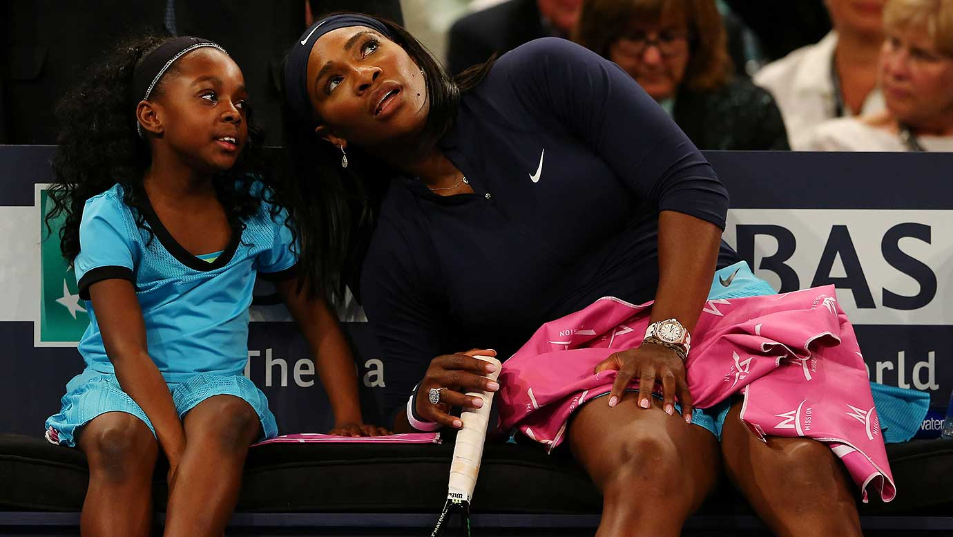 Serena Williams speaks to a fan as she plays Caroline Wozniacki during the BNP Paribas Showdown at Madison Square Garden.
