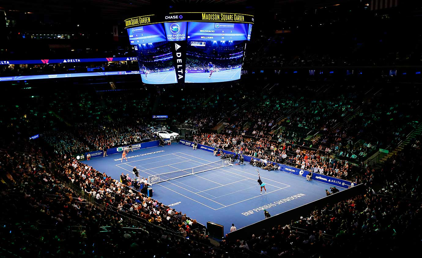 A general view as Serena Williams plays against Caroline Wozniacki at the BNP Paribas Showdown at Madison Square Garden.