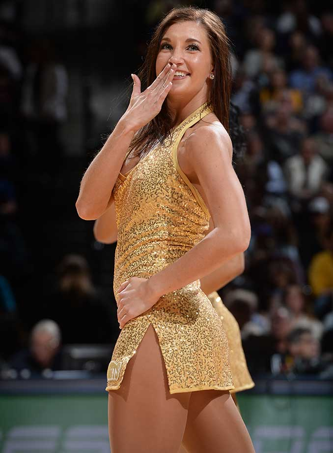 A Denver Nuggets dancer during the game against the New York Knicks.