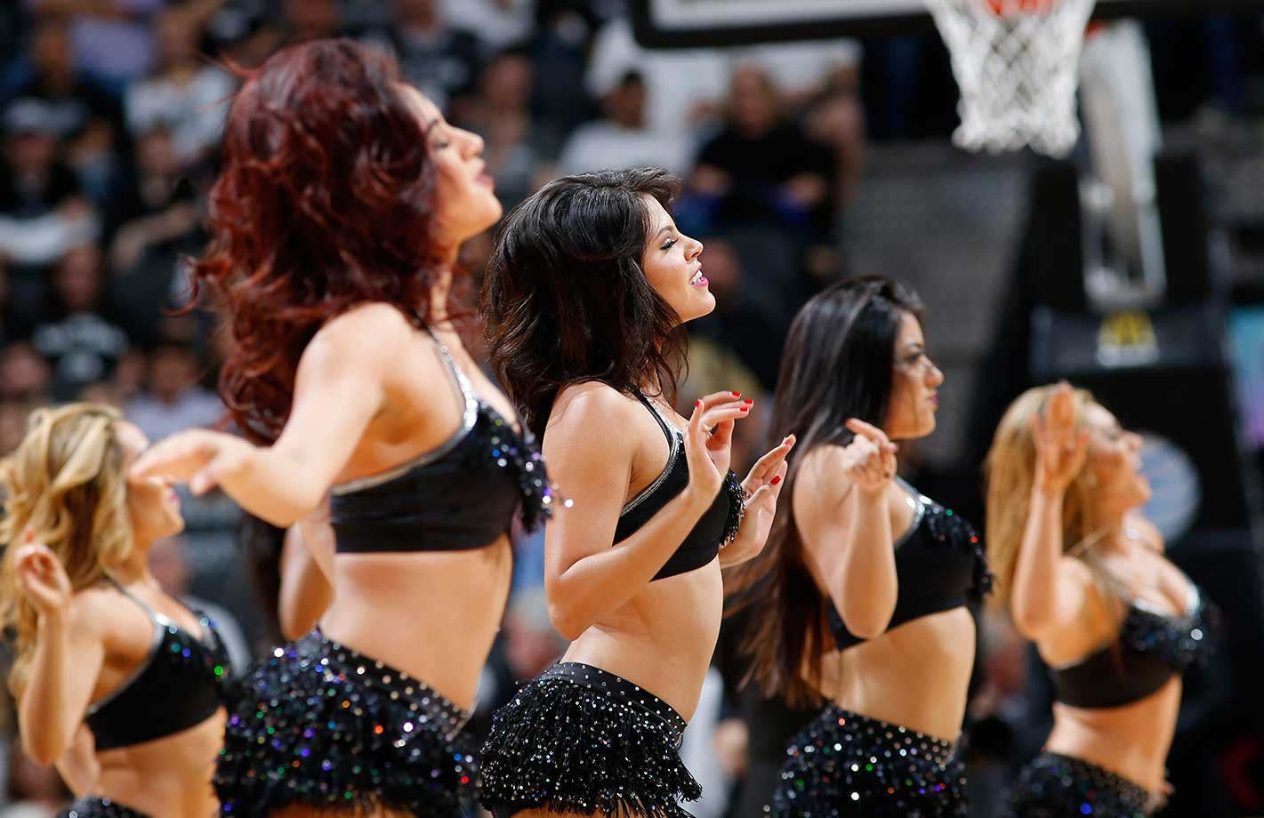 The San Antonio Spurs dance team is seen during the game against the Orlando Magic at the AT&T Center in San Antonio.